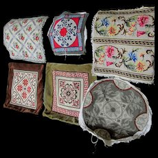 6 Vintage Needlepoint Panels, Tapestry Pillow Covers