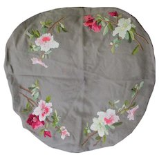 Lovely Antique Victorian Embroidered Wool Tablecloth