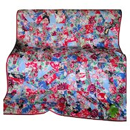 Lovely Art Deco c1930s Rayon Satin Floral Quilt