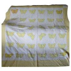 c1920-30s Art Deco Applique Butterfly Quilt