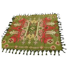 19thC Orientalist Tapestry Tablecloth with Fringe