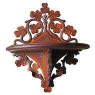 c1890s Antique Hand Carved Folk Art Shelf, Cottage