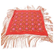 Vintage Silk Embroidered Piano Shawl with Long Fringe