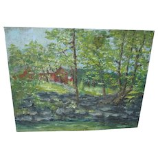 Impressionistic Oil Painting on Tin of Red Barn