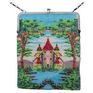 Antique Beaded Handbag with Castle, Landscape