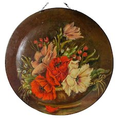 Lovely Hand Painted Toleware Charger, Tole Flue Cover