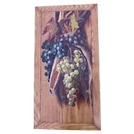 Antique Still Life Oil Painting of Grape & Corn Harvest
