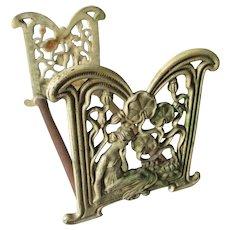 Pretty  Art Nouveau Bookends, Lady, Water Lillie's