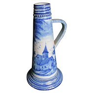 Antique Hand Painted Faience, Majolica Jug with Church
