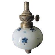 19thC Bougeoir Peg Lamp with Blue Enamel Flowers