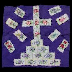 19thC Silk Tobacco Silk Pillow with Flowers, Cross
