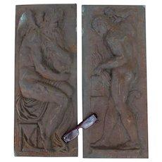 Pair Antique 19thC Architectural Plaques, Mythological Gods, Garden Decor