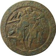 Antique Bronze Roundel, Plaque of Ancient Warriors
