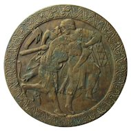 Antique Bronze Roundel, Plaque of Ancient Warriors