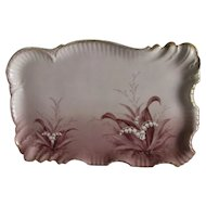 c1890s Hand Painted Porcelain Perfume Tray, Lily of the Valley Flowers