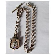 Antique Gold Filled Odd Fellows Pocket Watch Fob Chain with Knight