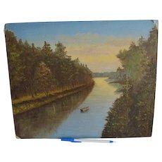 Folk Art Oil Painting of Men Fishing, River Landscape