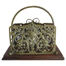 Antique English Letter Holder with Dolphins & Face