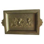 Antique Bronze Tray with Cherub Artist, Sculptor