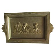 Antique Bronze Tray with Cherub Artist, Sculptor