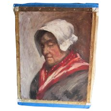 Vintage Impressionistic Oil Painting of a Lady in White Bonnet