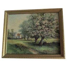 Vintage Impressionistic Landscape Oil Painting, Flowering Tree