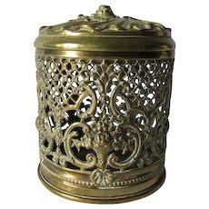 Lovely Antique Pierced Brass Sewing, String, Yarn Holder