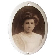 Antique French Enamel Mourning Photograph Plaque
