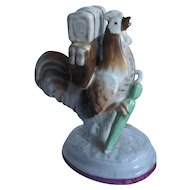 Staffordshire Figurine Chicken, Rooster with Backpack & Umbrella