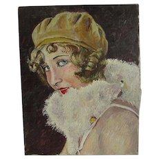 Antique Art Deco Oil Painting of a Flapper Lady