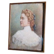 Lovely c1880-1890s Watercolor Portrait of a Beautiful Lady