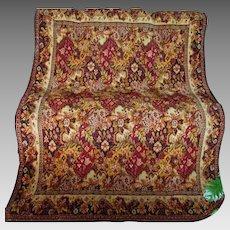 19thC Mohair Tablecloth, Bedspread Oriental Rug Motif