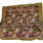 19thC Mohair Tablecloth, Blanket with Floral Motif