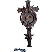 Hand Carved Folk Art Cross, Frame with Jesus & Daisy Flowers