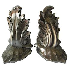 Pretty Vintage Silver Gilt Acanthus Leaf Bookends, Desk Accessory