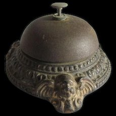 Antique Hotel or Desk Bell with Cherub Angels, Signed DEP