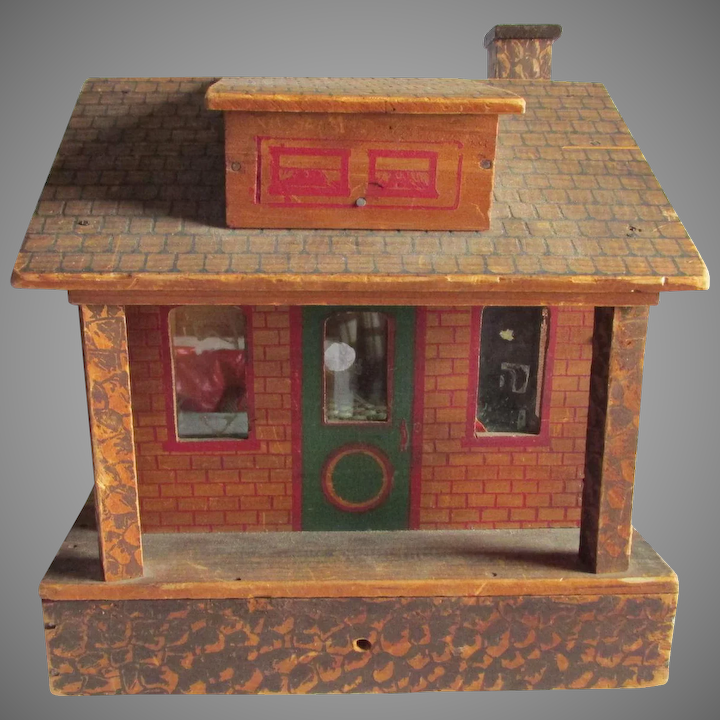 Antique Wood Doll House Christmas Decoration