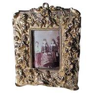 Antique Gilt Brass Picture Frame, Mirror with Cherub Angels