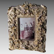 Antique Gilt Brass Picture Frame, Mirror with Cherub Angels
