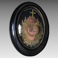 Antique French Silk Sacred Heart in Bubble Glass Frame, Nun Work