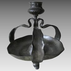 Antique Art Nouveau Pewter Lily Form Candlestick, Signed