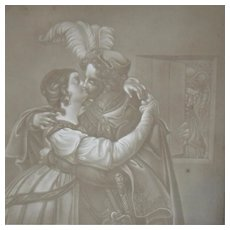Antique European Lithophane, Lithopane of a Couple Kissing, Man Peeking