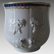Antique Chinese Lowestoft Cup with Twist Handles, Appliques