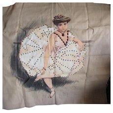 Antique c1903 Embellished Printed Linen of a Dancer, Coryphee