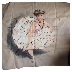 Antique c1903 Embellished Printed Linen of a Dancer, Coryphee