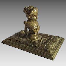 Antique Bronze Classical Cherubic Child Desk Accessory, Paperweight