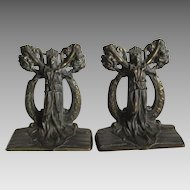 c1925 Thespian Bookends by Hubley, Theater Muse Drama & Comedy