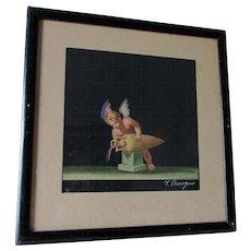 Italian Cherub Angel, Watercolor Painting, Listed Artist V Bisogno