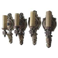 Elegant Set of 4 Art Nouveau, Art Deco Wall Sconces, Lights