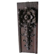 Lovely Hand Carved Architectural Element with Rose & Acanthus Leaves